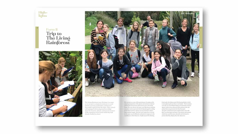 school magazine spread design
