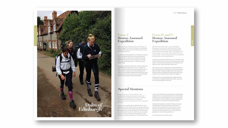 school magazine spread