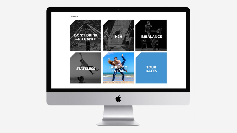 Dance website design shows