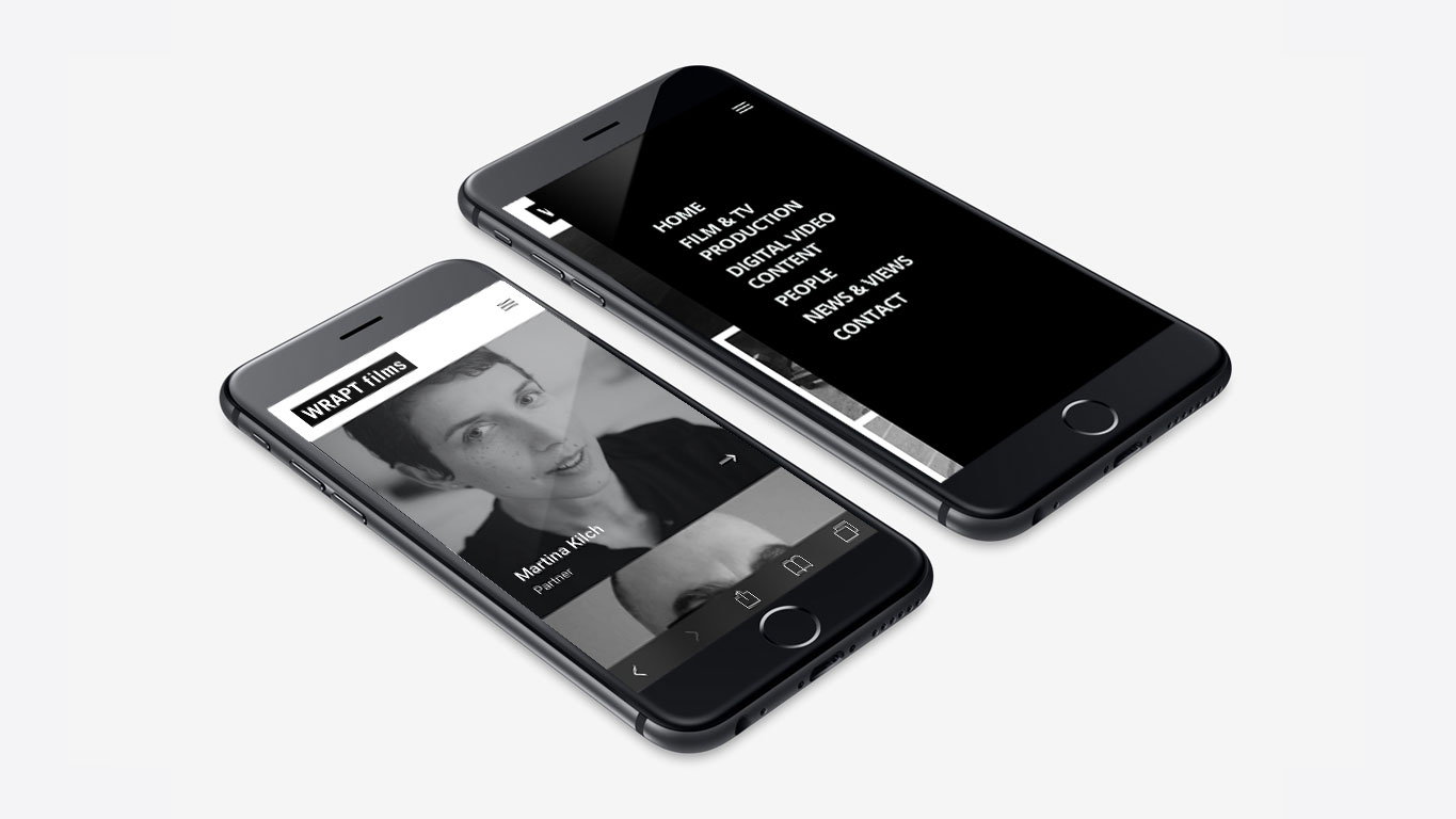 production company website mobile about page