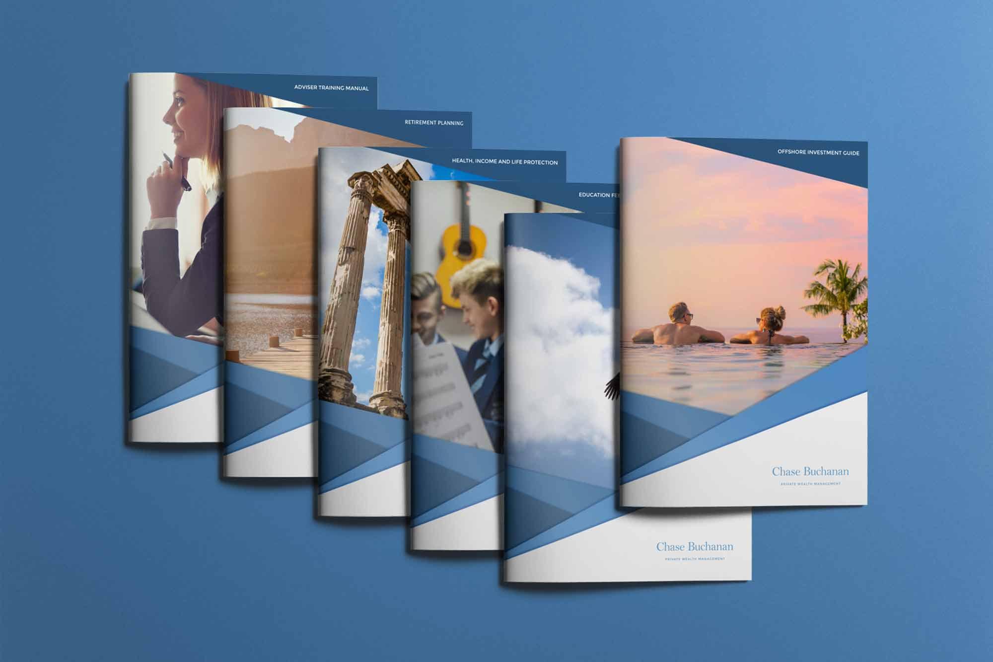 financial services rebrand brochures
