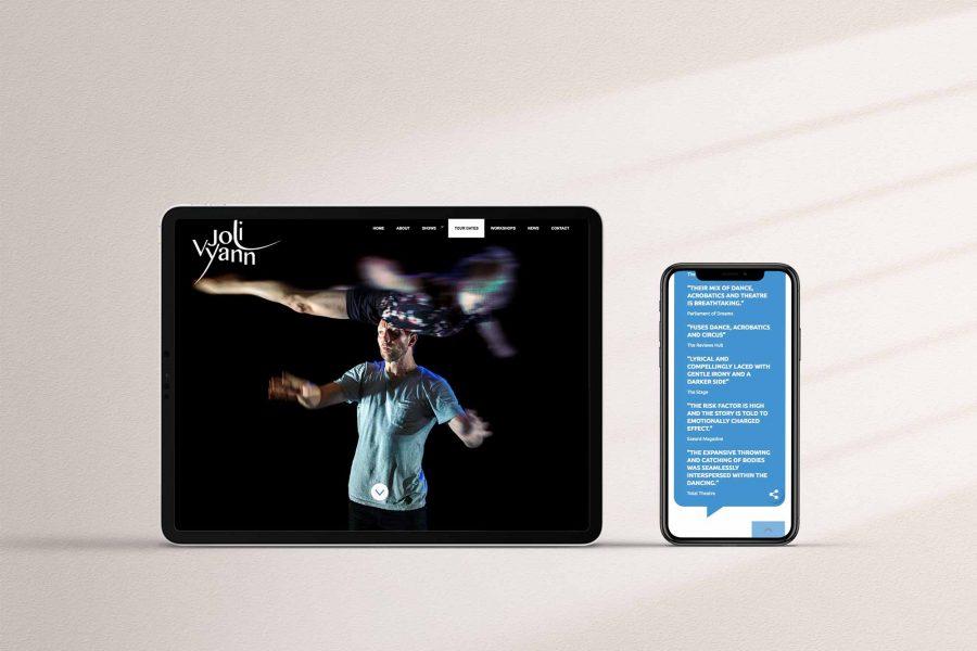 Dance website design - tablet mobile