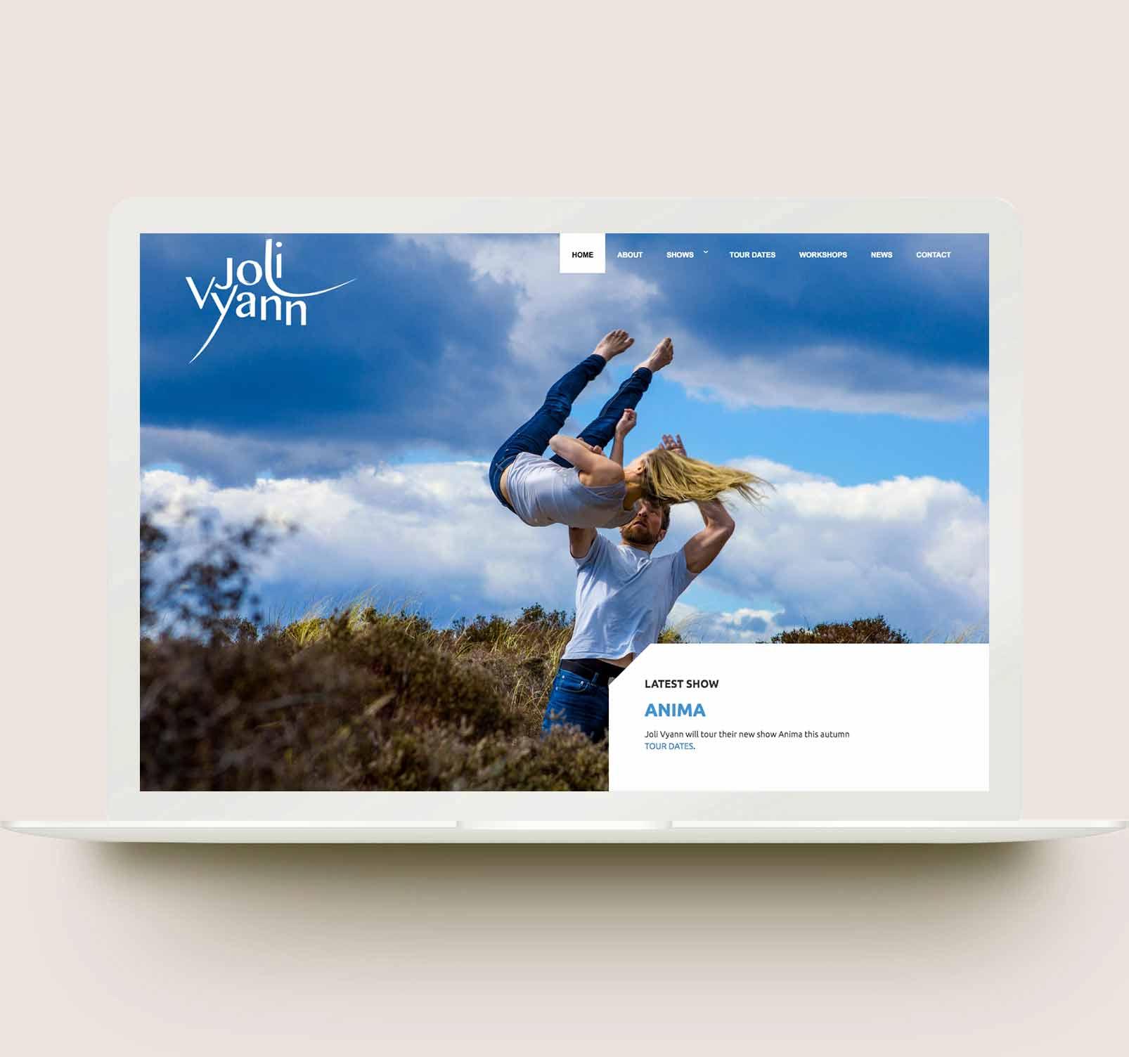 Dance website design - laptop