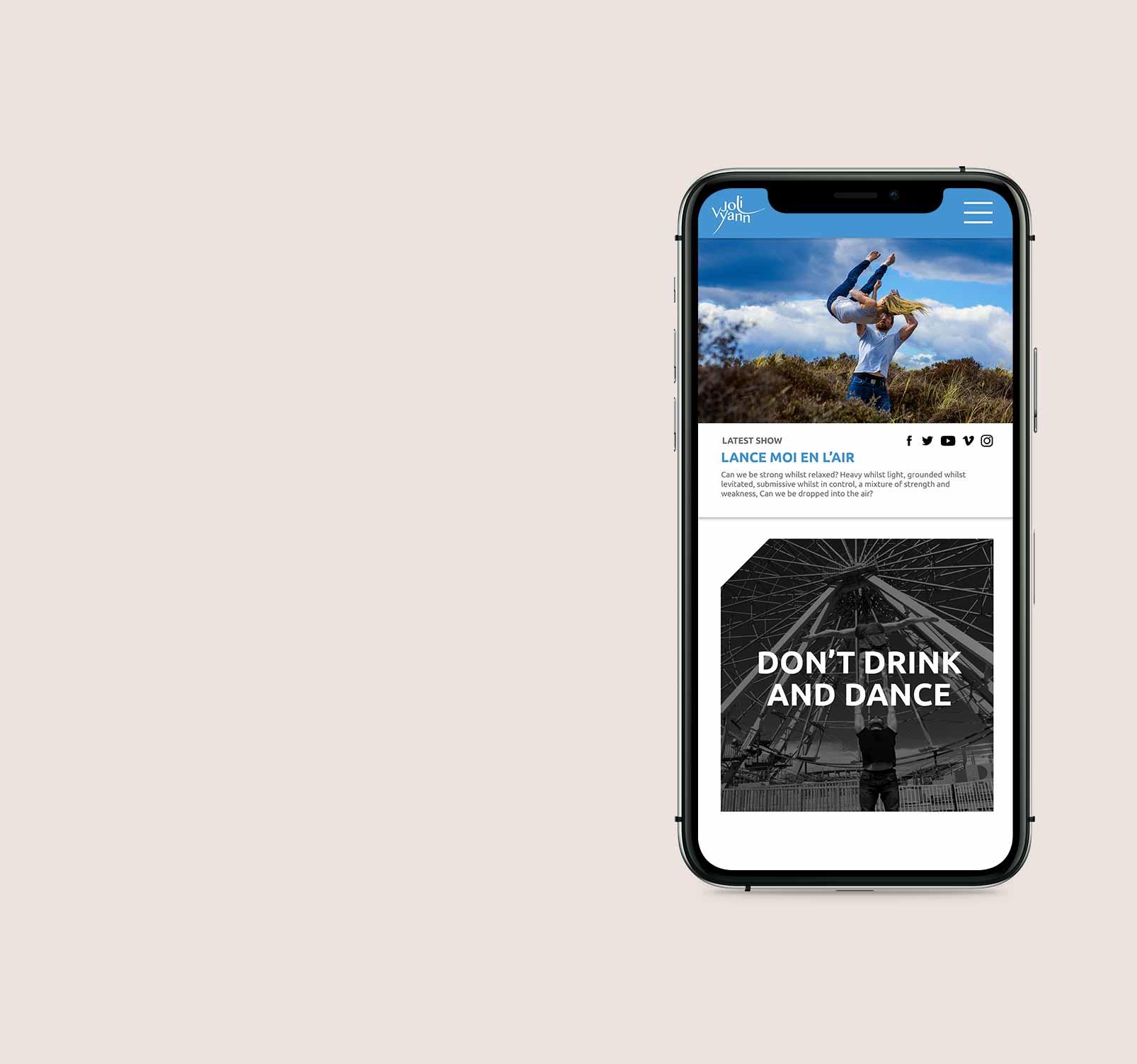 Dance website design - mobile