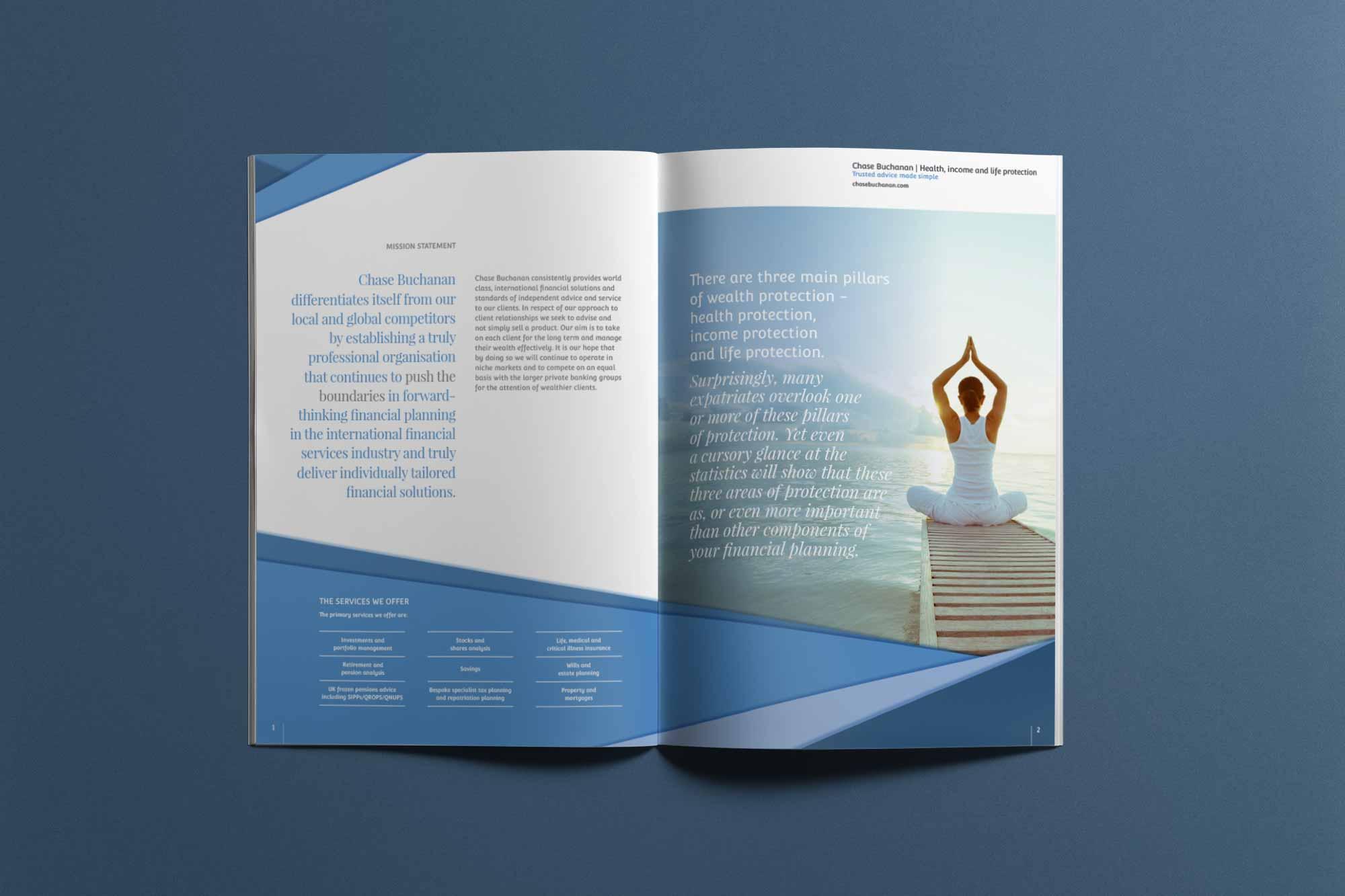 financial services rebrand brochure spread