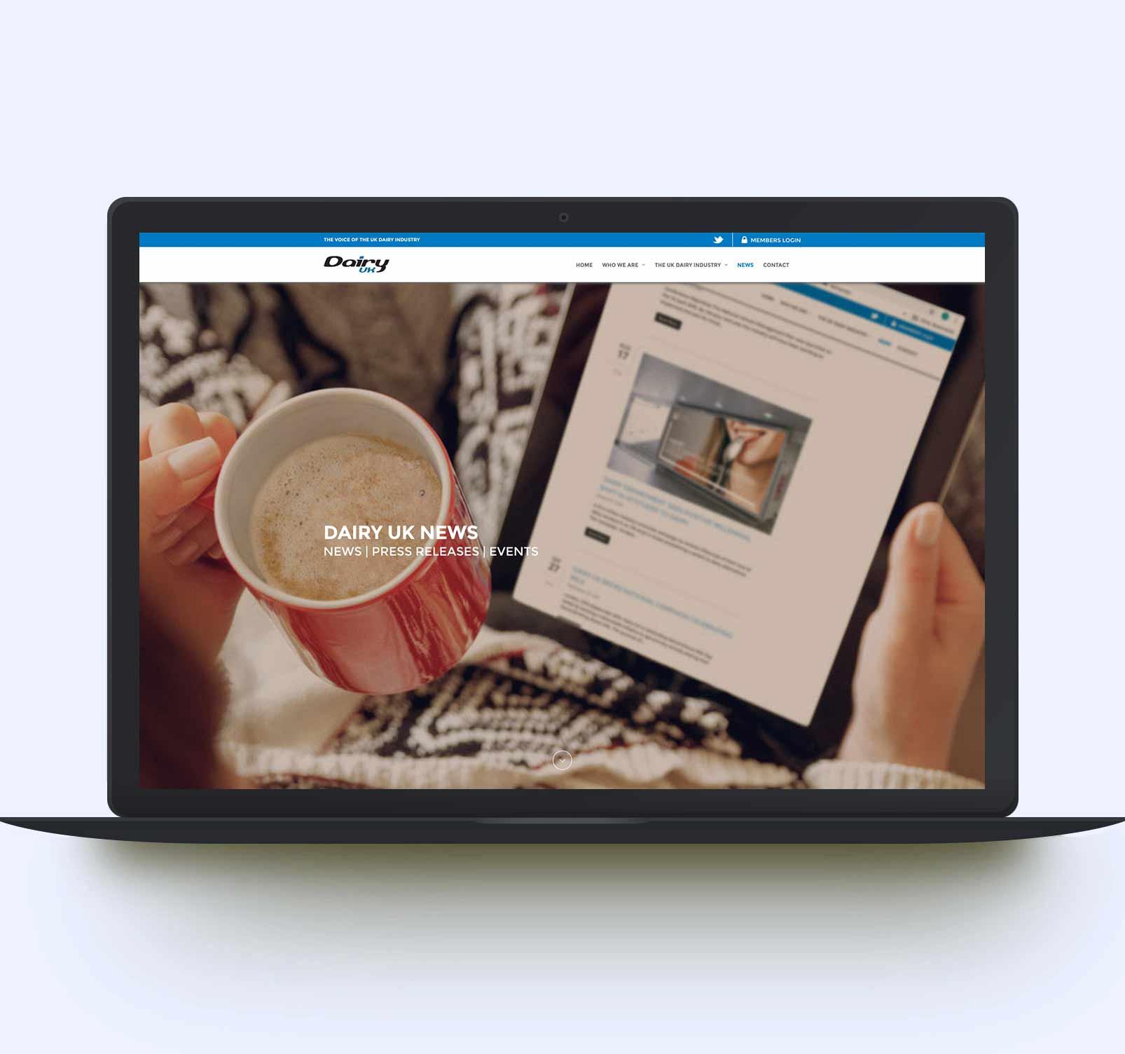Industry website design - laptop view