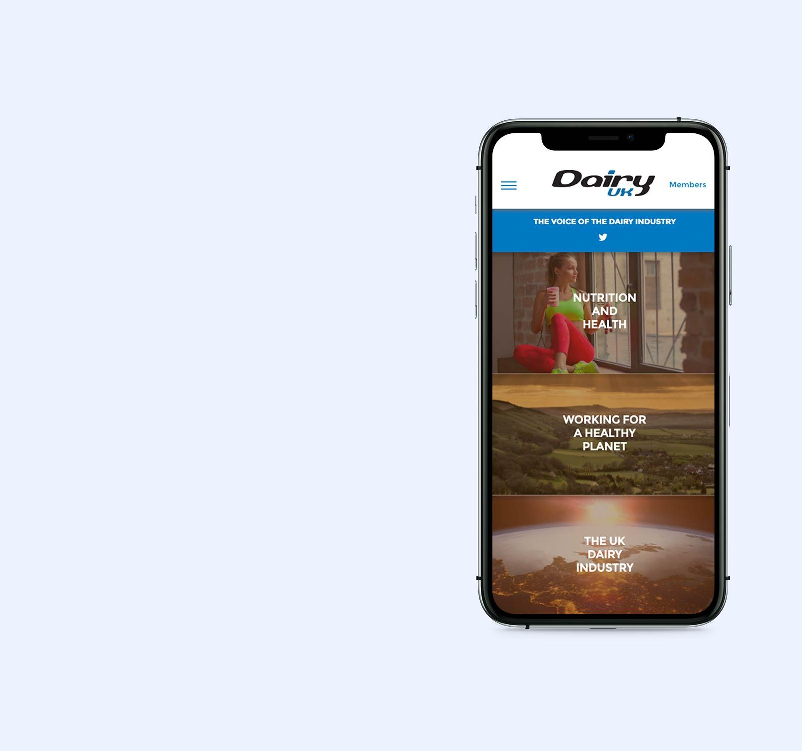 Industry website design - mobile view
