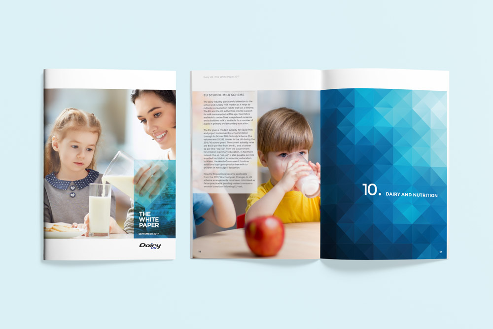 White paper front cover and spread